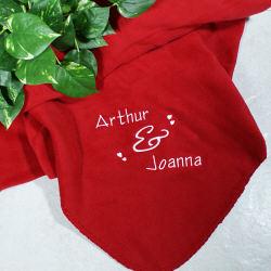 Embroidered Couple Fleece Blanket