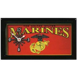 US Marine Corps Red & Yellow License Plate Clock
