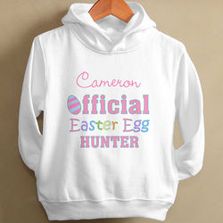 "Personalized Girls ""Offical Easter Egg Hunter"" Hoodie"