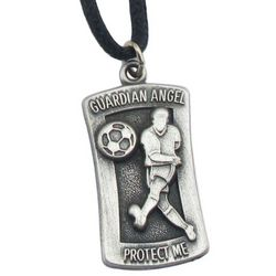 "Engraved Soccer ""Protect Me"" Pendant Necklace"