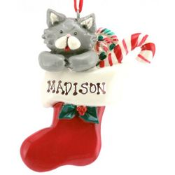 Engraved Kitty in a Stocking Ornament