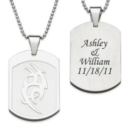 Stainless Steel Tribal Engraved Dog Tag Necklace