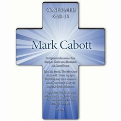 Personalized Blue Starburst Confirmation Prayer Cross