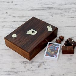 Handcarved Wooden Box with 3 Games