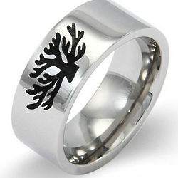 Stainless Steel Tree of Life Message Band
