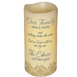 Memorial Candle with Broken Chain Poem