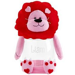Personalized Valentine Plush Lion Treat Jar