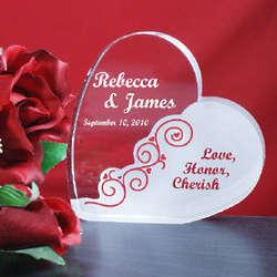 Engraved Love Honor Cherish Wedding Heart Plaque
