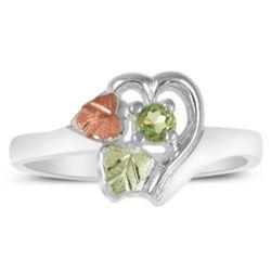 Green & Rose Gold on Sterling Birthstone Ring