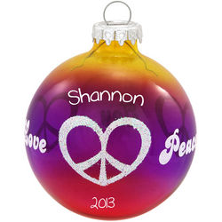 Peace Love Joy Glass Ball Christmas Ornament