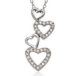 Sterling Silver Diamond Hearts Necklace