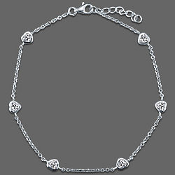Sterling Silver Heart Anklet in Cubic Zirconia