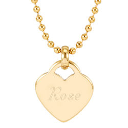 Personalized Gold Stainless Steel Heart Charm Pendant