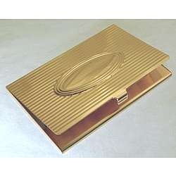 Engraved Linear Lines with Oval Gold Plated Card Case