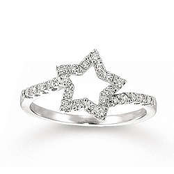 14K White Gold Star Shape .20CTW Diamond Ring