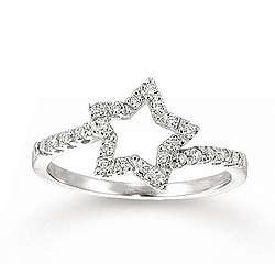 14k White Gold Star Shape 20ctw Diamond Ring Findgift Com