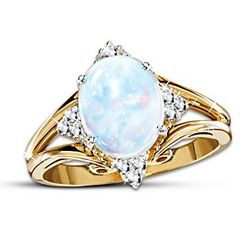 Radiant Enchantment Australian Rainbow Opal and Diamond Ring