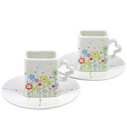 Flower Field Espresso Cup & Saucer Set