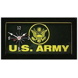 US Army Green & Yellow License Plate Clock