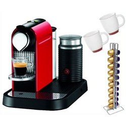 Fire Engine Red Espresso Machine & Milk Frother