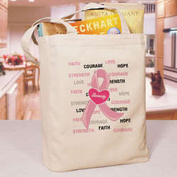 Personalized Hope and Love Breast Cancer Awareness Tote Bag