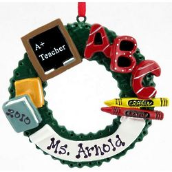 Personalized Teacher's Christmas Wreath Ornament