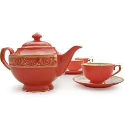 Ruby Filigree Bone China Tea Set