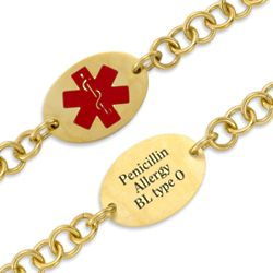 Gold Stainless Steel Oval Medical Alert ID Bracelet