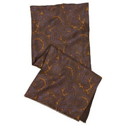 Reversible Paisley Silk and Wool Scarf