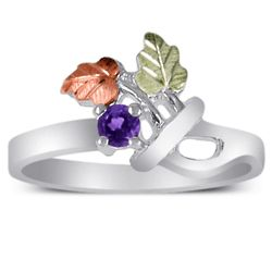 Green and Rose Gold Leaves Sterling Birthstone Ring