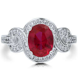 Oval Cut Ruby Cubic Zirconia Sterling Silver Fancy Cocktail Ring