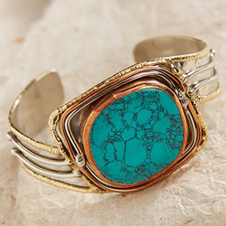 Mixed Metals Turquoise Cuff Bracelet