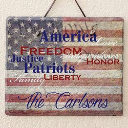 Patriotic Family Personalized Slate Plaque