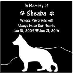 "Personalized 8"" Black Granite Pet Memorial Stone with Silhouette"