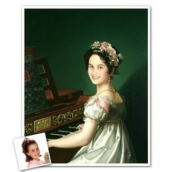 Personalized Manuela Playing Piano Masterpiece Print from Photo