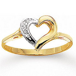 14K Yellow Gold Round Pave Heart Diamond Ring