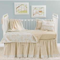 Blue Toile Toddler Bedding