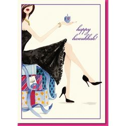 Dreidel Girl Happy Hannukah Greeting Card