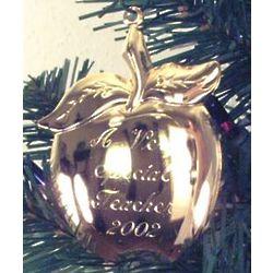 Personalized Gold Tone Teacher's Apple Ornament