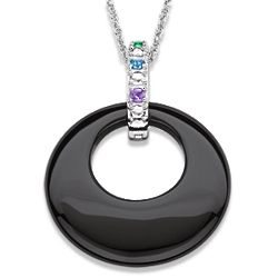 Sterling Silver Family Birthstone and Onyx Disc Necklace