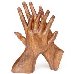Hand of Friendship Wood Statuette