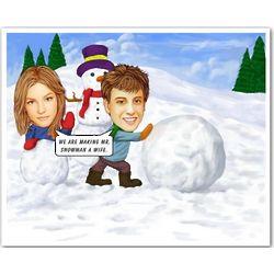 Snowman Caricature Art Print