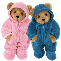 Pink and Blue Hoodie-Footie Teddy Bears