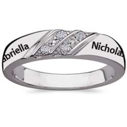 Sterling Silver Couple's Double Row Diamond Engraved Name Band