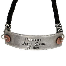 Men's Leather and Silver Inspirational Bracelet
