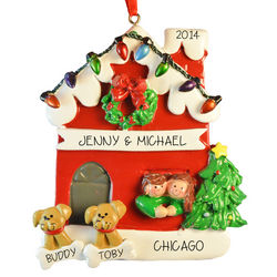 Couple with Dogs Christmas Ornament