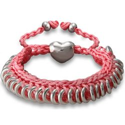 Pink Braided Friendship Bracelet with Heart