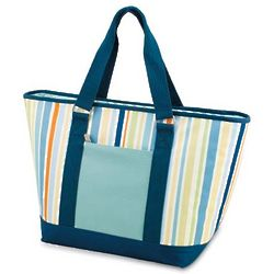 Striped Cooler Shoulder Tote with Liner