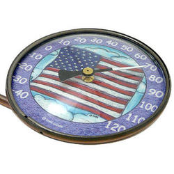 Copper Window Thermometer with American Flag Art