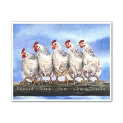 5 Chickens Personalized Art Print